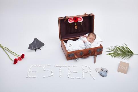 Baby liegt im kleinen, braunen Koffer. Geschmückt mit drei Blumen. Auf einer Steintafel steht das Geburtsdatum. Der Name des Babies wurde mit weißen Steinen geschrieben. Das Arrangement besteht noch aus Muscheln, einem Palmenblatt und drei Blumen.