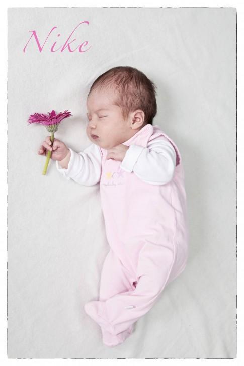 Das Baby liegt auf der Seite und hat einen rosa Strampler an. In der rechten Hand hält es eine pinkfarbene Blume.